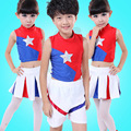 5pcs/lot Free Shipping Performance Dance Wear Kids Cheerleading Costumes Children Boys Girls Aerobics Gymnastics Uniform Clothes