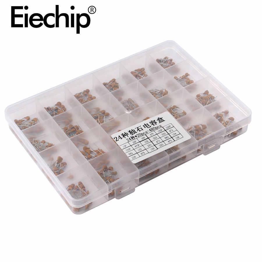 480 pcs מונוליטי קרמיקה קבלים מבחר ערכת 10pF-10uF מונוליטי קבלים סט 0.1 uF 0.22 uF 0.47 uF 2.2 uF 4.7 uF קבלים