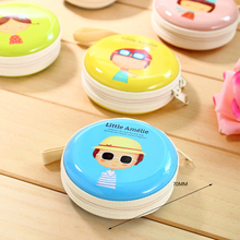 250pcs/lot Kawaii Infantiles Children's Wallets Round Hard Pouch Earphone Holder Case Small Coin Purse