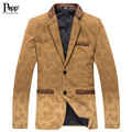 Nova Chegada de Moda Outono 100% Puro Algodão Fino Blazer Dos Homens Casuais Padrão de Impressão Patchwork Jaqueta Casual Frete Grátis