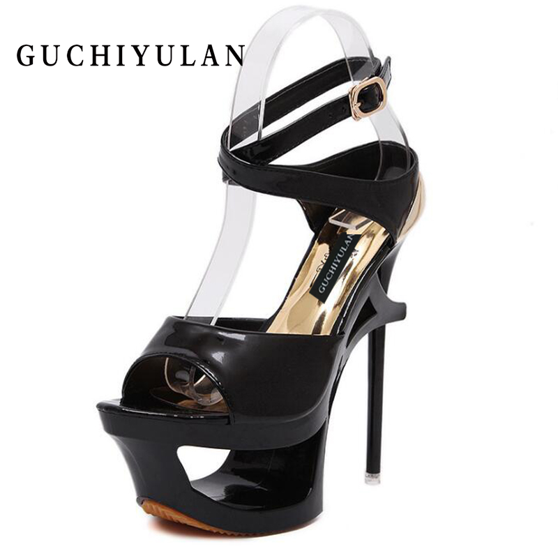 2018 Summer Women Sandals Sexy Pumps 16cm Women Heels Party Shoes Strappy Heels black White extreme high heels shoes size 34-40 size 34 40 black and white pu leather high heels sandals 16cm sexy stripper shoes summer shoes women gladiator platform sandals