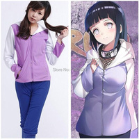 Anime Naruto Shippuuden Hinata Hyuga 2nd Generation Full Combo Set Cosplay Costume for girl Sportswear two pieces (Jacket+Pants)
