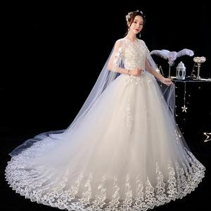 Image 4 - 2019 Nieuwe Off White O Hals Lange Trein Trouwjurk Mooie Lace Applique Illusion Lace Up Trouwjurk Vestido De noiva L