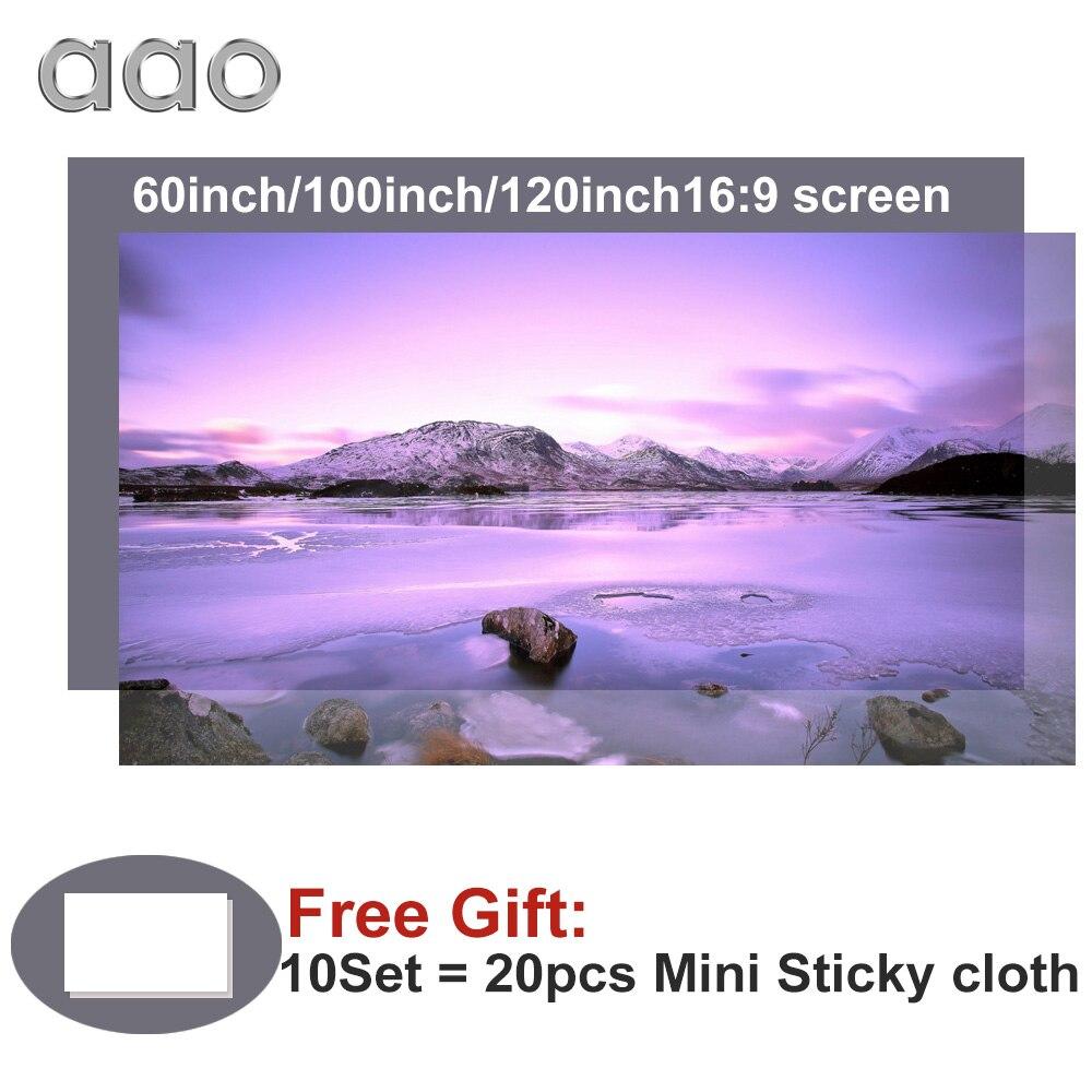 Aao 60 100 120 polegada tela do projetor de alto brilho tela pano reflexivo para espon benq xgimi yg420 tela projeção
