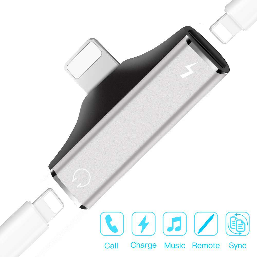 MeterMall Dual Port Adapter Splitter 2 In 1 Headphone Audio Charge Dongle For IPhone XS, XS Max, XR, X, 8/8 Plus, 7/7 Plus