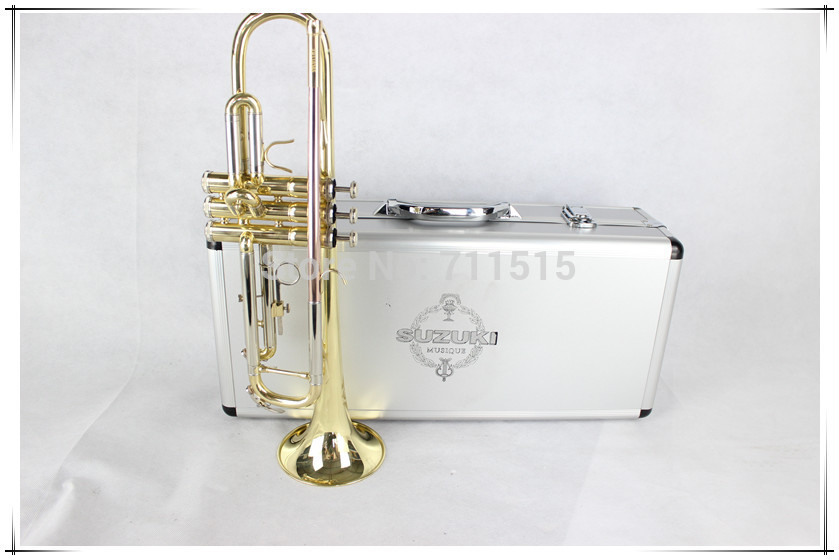 SUZUKI fidelity drop b the small instruments surface electrophoresis gold Bb  trumpet professional trompeta with metal case fidelity files the