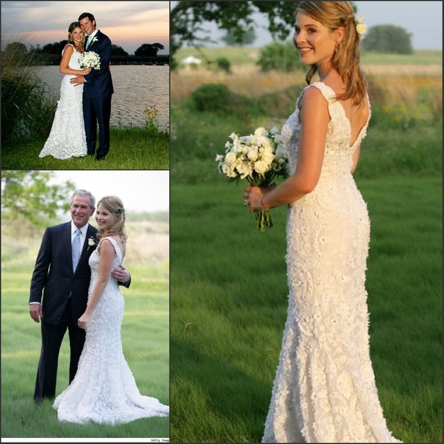 Celebrity Wedding Dress Jenna Bush Y Mermaid V Neck Backless Lace Gown With Train