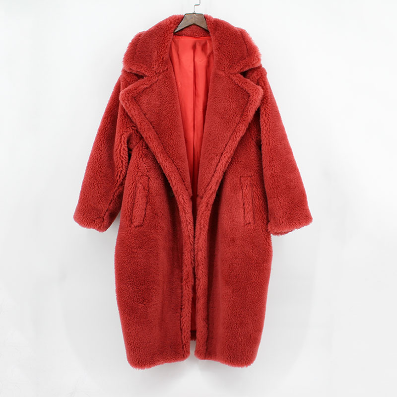 Натуральный мех женщин большие размеры Овцы пальто с мехом свободные Модные Роскошные теплые толстые зимние пальто парки отложной воротни...