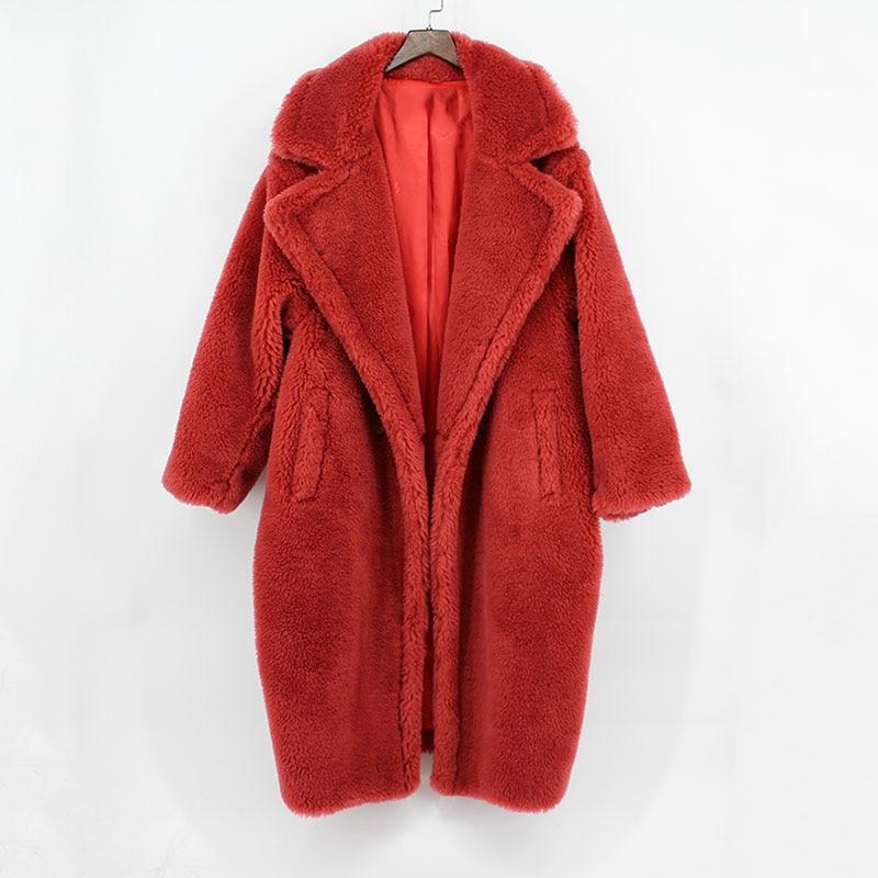 Donne reali della pelliccia di grandi dimensioni cappotto di pelliccia di pecora di modo allentato di lusso caldo di spessore inverno outcoat parka girare giù il collare femminile cappotti