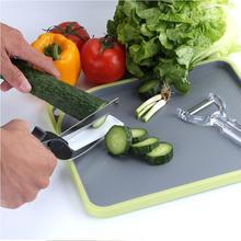 Inteligente smart 2 en 1 conjunto cuchillo de tijera de corte de alimentos y junta queso vegetal patata cortador de carne de acero inoxidable tijeras de cocina