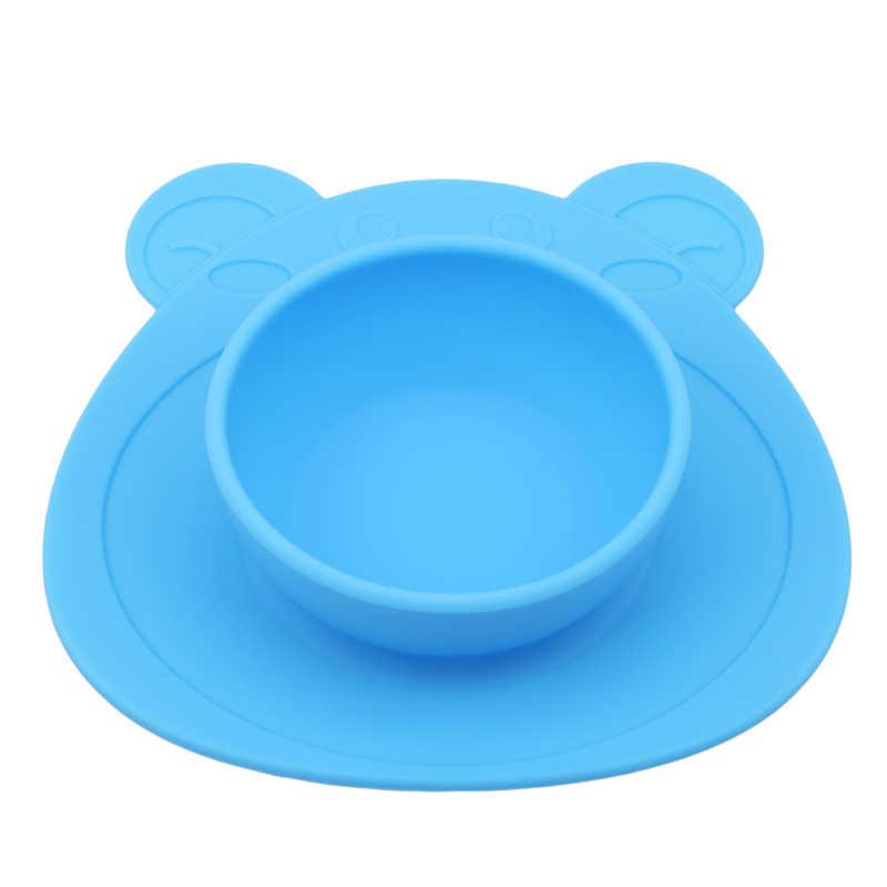 เด็กแผ่น 100% ซิลิโคนจานชามดูดถ้วยซิลิโคนอาหารจานถาดจานสำหรับทารกเด็กวัยหัดเดิน