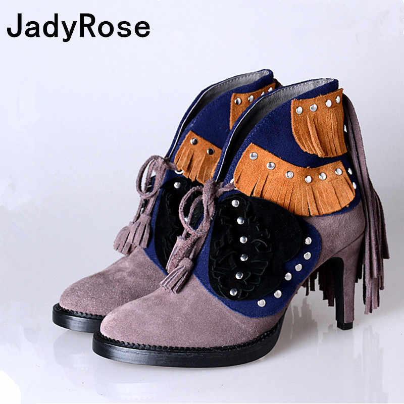 Женские зимние ботильоны из замши; сапоги-гладиаторы с бахромой на высоком каблуке; botas; женская обувь на шнуровке с бахромой; botas feminina zapatos mujer