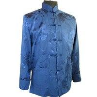 고품질 블루 중국어 남성 새틴 재킷 참신 코트 탕 정장 무료 배송 크기 Sml XL XXL XXXL WN029
