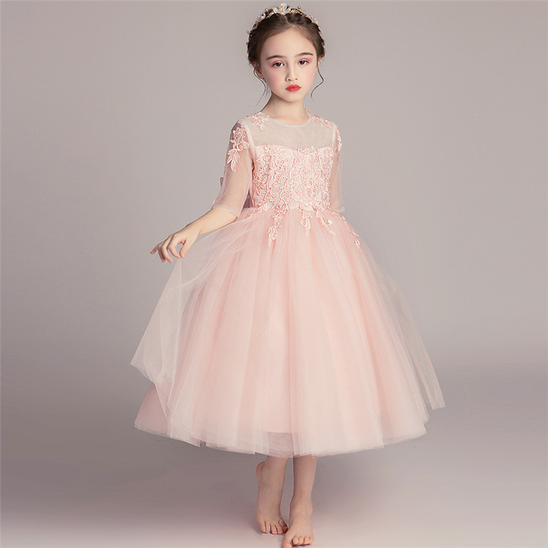 2018 Autumn Spring New Kids Embroidery Long Lace Flowers Birthday Party Dress Children Teenagers Flowers Girl Wedding Host Dress2018 Autumn Spring New Kids Embroidery Long Lace Flowers Birthday Party Dress Children Teenagers Flowers Girl Wedding Host Dress