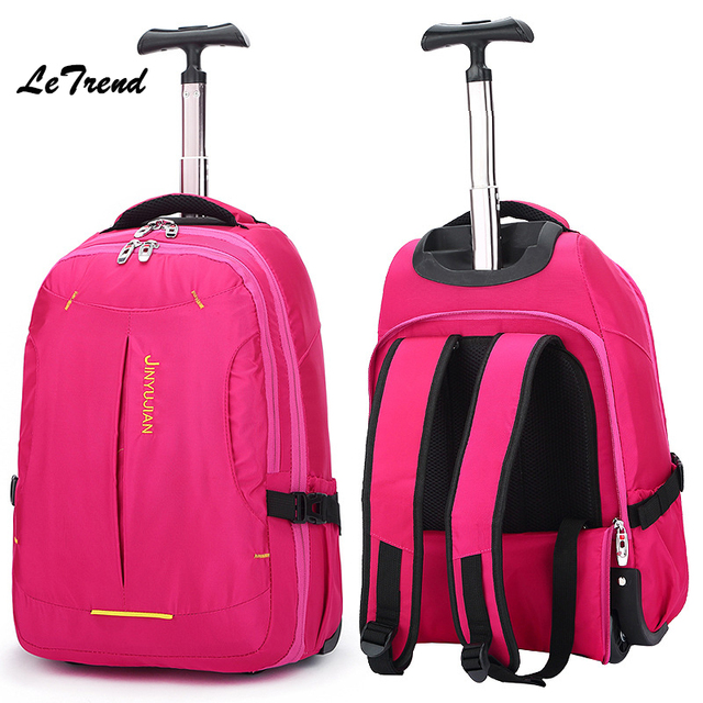 32558daf05 Letrend New Fashion Oxford Travel Bag Women Backpack Rolling Luggage  Trolley Bag 18  Boarding Box Female Students Children Trunk
