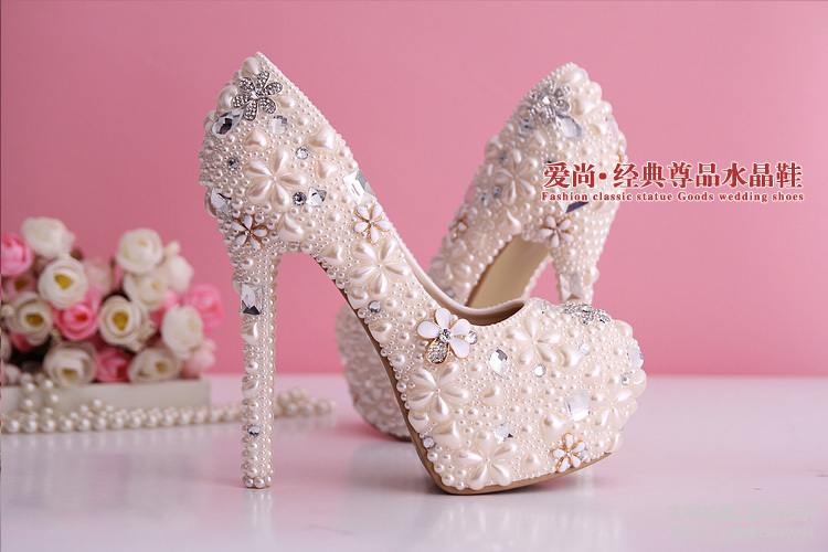 fb085b5d47a0 Wholesale 2015 new women light pink pearl diamond high heel increased  platform wedding shoes elegant bridal flowers party pumps-in Women s Pumps  from Shoes ...