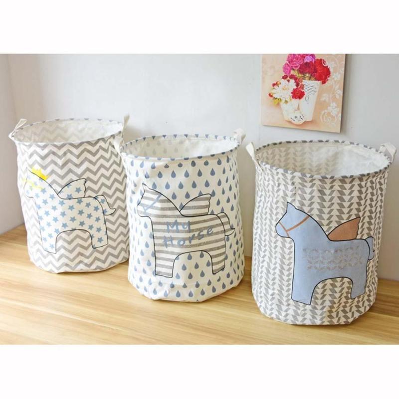Cute Horses Folding Laundry Basket Dirty Clothes Wash Basket Dirty Clothes Sundries Basket Box Toys Cosmetic Organizer