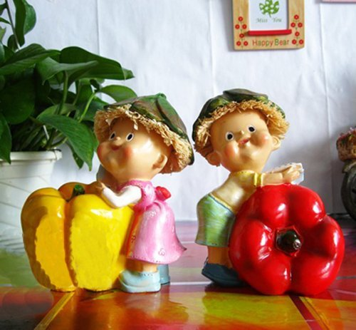 MOQ:1 pair! Free shipping new design handcraft painted resin table ornament one pair of pimiento moppets