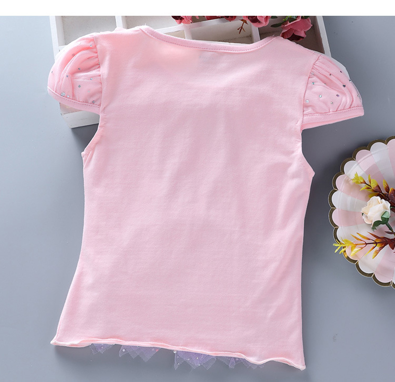 Girls New Summer Princess T-Shirt Elsa Childen Cotton Tees Lace T Shirt 3D Diamond Appliques Kids Birthday Party Top Clothing 14