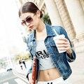 2017 Новых женщин Мода Тонкий Лоскутное Джинсовые Куртки Классическая Пиджаки Джинсы Пальто Куртки плюс размер S-4XL
