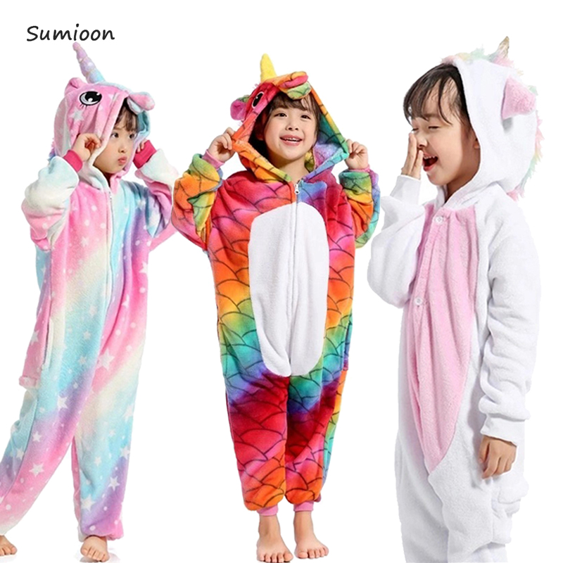 Winter girl boy children's   pajamas   baby onesie kids   pajama     set   animal cartoon sleepwear stitch panda pink unicorn hooded cosplay