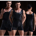 1PCS Sexy Imitation leather Shorts Jockstrap Men's Underwear Sexy Jumpsuits Transparent Vest Faux Leather Bodysuits