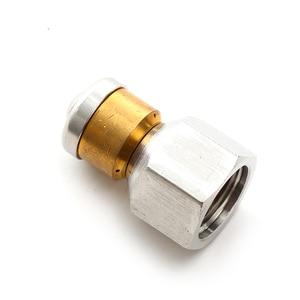 """Image 2 - Roue arruela de alta pressão, acessório de arruela de alta qualidade bsp 1/4 """", bocal de entrada, 3 bocais de metal, bico de esgoto rotativo"""