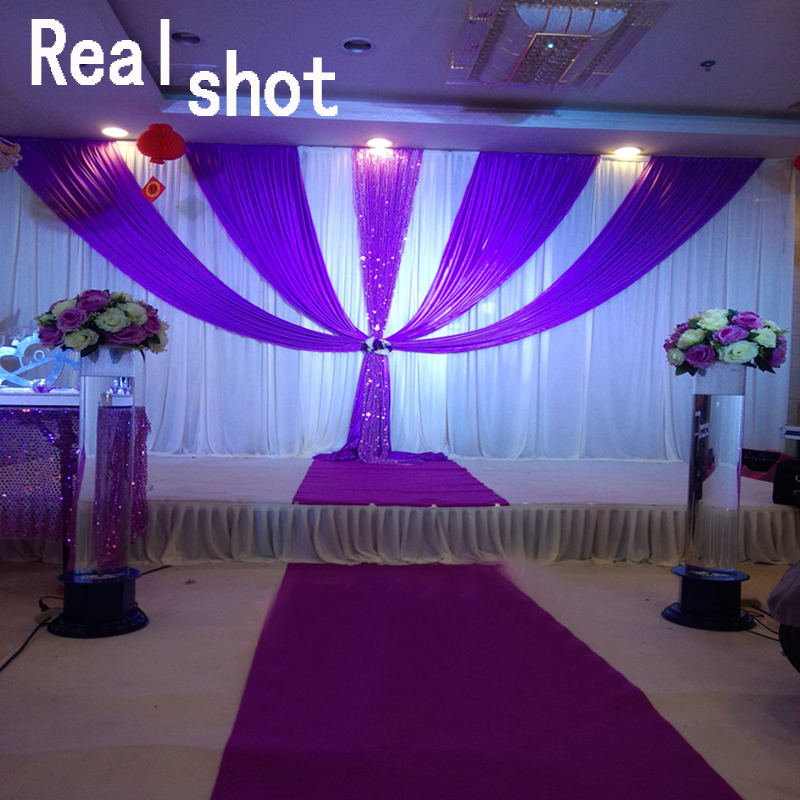 3x6m Luxury White and Purple Wedding Backdrop drapery with Detachable Swag Wedding Decoration Background Curtain Free shipping