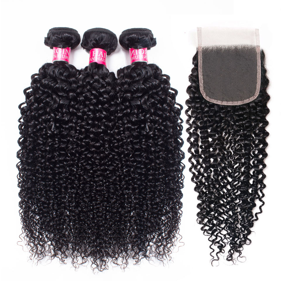 Mongolian Afro Kinky Curly Bundles With Closure Brazilian Hair Weave Bundles With Closure Lanqi Human Hair Bundles With Closure