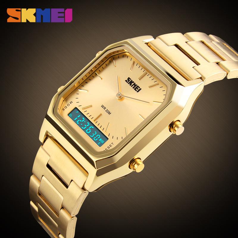Prix pour 2017 skmei top marque de luxe hommes sport montre-bracelet des hommes or carré numérique montres homme montre-bracelet homme horloge relogio masculino
