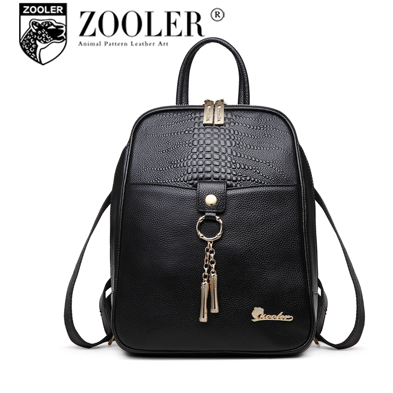 Hot ZOOLER 2017 genuine Leather Woman Backpack double strap bags for girl brand fashion women leather backpacks#2055 zooler genuine leather backpacks 2016 new real leather backpack for men famous brand china hot large capacity hot 65055