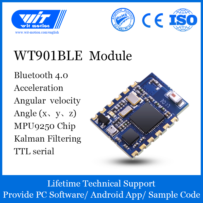 WT901BLE Bluetooth BLE 5.0 Low-consumption IMU 9 Axis Inclinometer Sensor 3 Axis Tilt Angle Gyroscope Magnetometer MPU9250 Module Offer IOS//Android app +-16g Roll Pitch Yaw Accelerometer