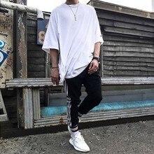 New Arrive Hip Hop Solid T-Shirt Oversize Extended Kanye Wes