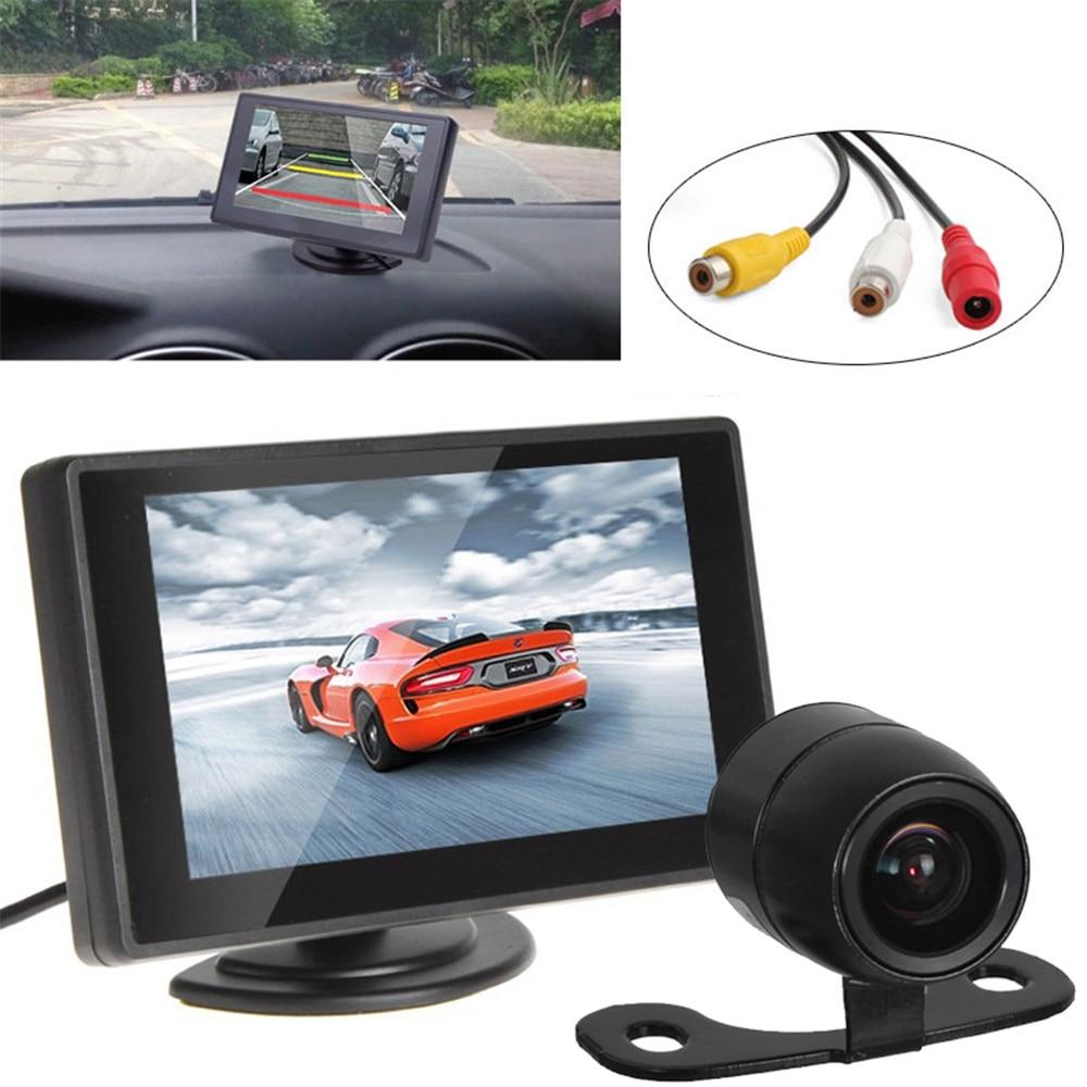 "Car Parking Kit Dengan 4.3 ""Layar Warna TFT LCD Monitor Mobil Mendukung Resolusi 480 x 272 + Kamera Mobil Spion Tahan Air"
