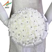 Анти-boeket zijde bloemen невесты свадебные Foamflowers белый свадебный букет из роз белый атлас Романтические свадебные букеты на заказ