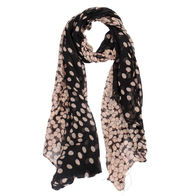 New chiffon scarf Womens Long Polka Dot Scarf Wraps Shawl Stole Soft shawls and scarves high quality foulard femme gift 48