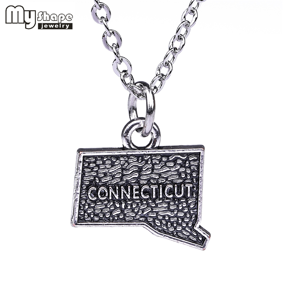 My shape Connecticut state necklaces jewelry Ancient Silver charm state necklace map pendant Love Hometown Jewelry accessories