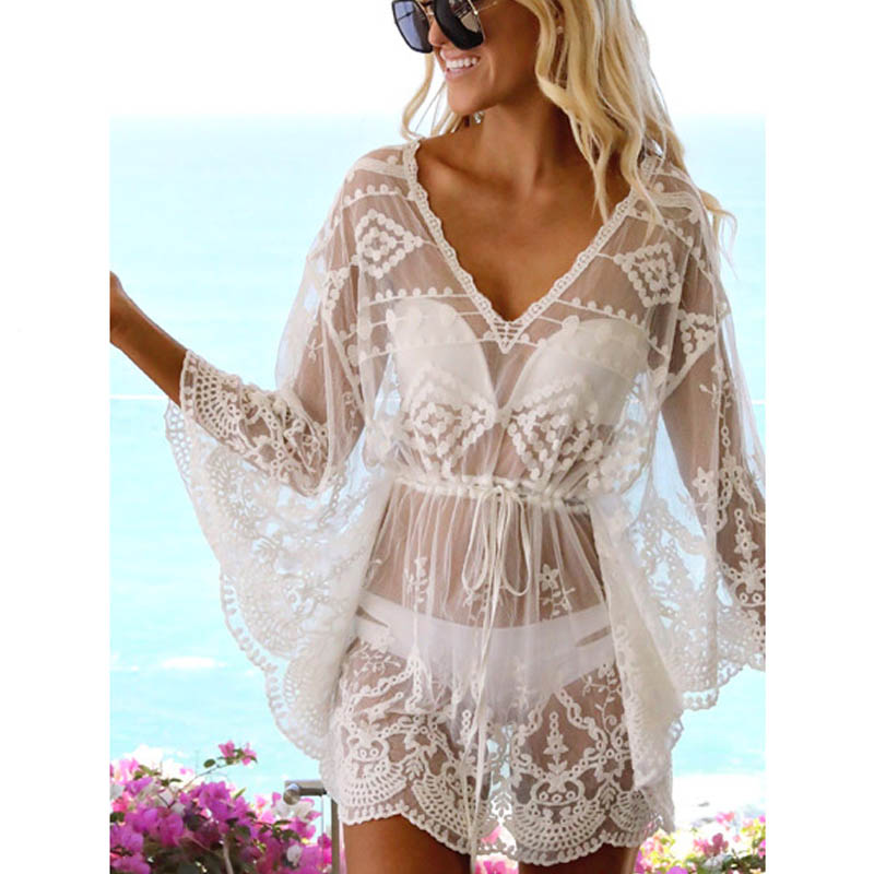 2019 Bikini Cover Up Lace Hollow Crochet Swimsuit Beach Dress Women Summer Ladies Cover-Ups Bathing Suit Beach Wear Tunic