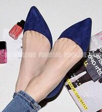 Мода Бархатная Женщины Квартиры 2016 Мелкая Рот Острым Носом На Низком Каблуке Обувь Одного Небольшой 31 32 33