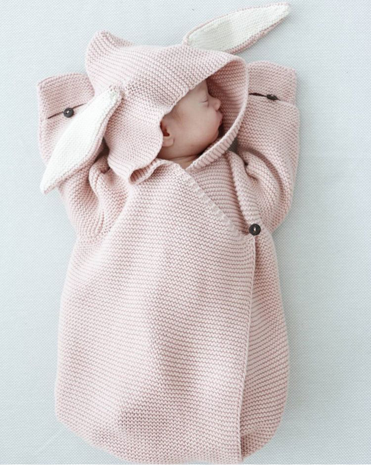 LILIGIRL Baby Blankets Newborn Knitted Baby Covers Rabbit Ear Swaddling Baby Wrap Photography Bunny Style Swaddle Wrap