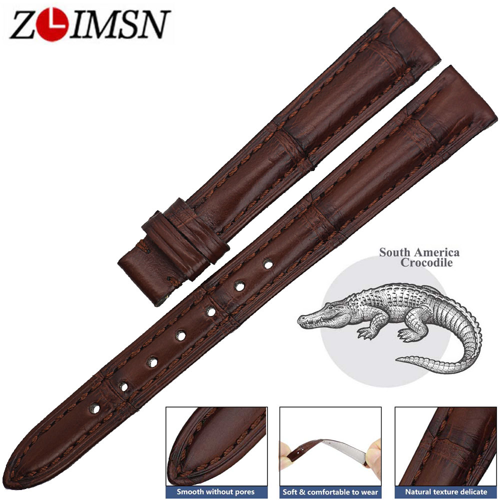 ZLIMSN Women Clock Watches Genuine Crocodile Leather Watchbands Strap 12mm-24mm Suitable For OMEGA Longines Watch Band Bracelets women crocodile leather watch strap for vacheron constantin melisa longines men genuine leather bracelet watchband montre