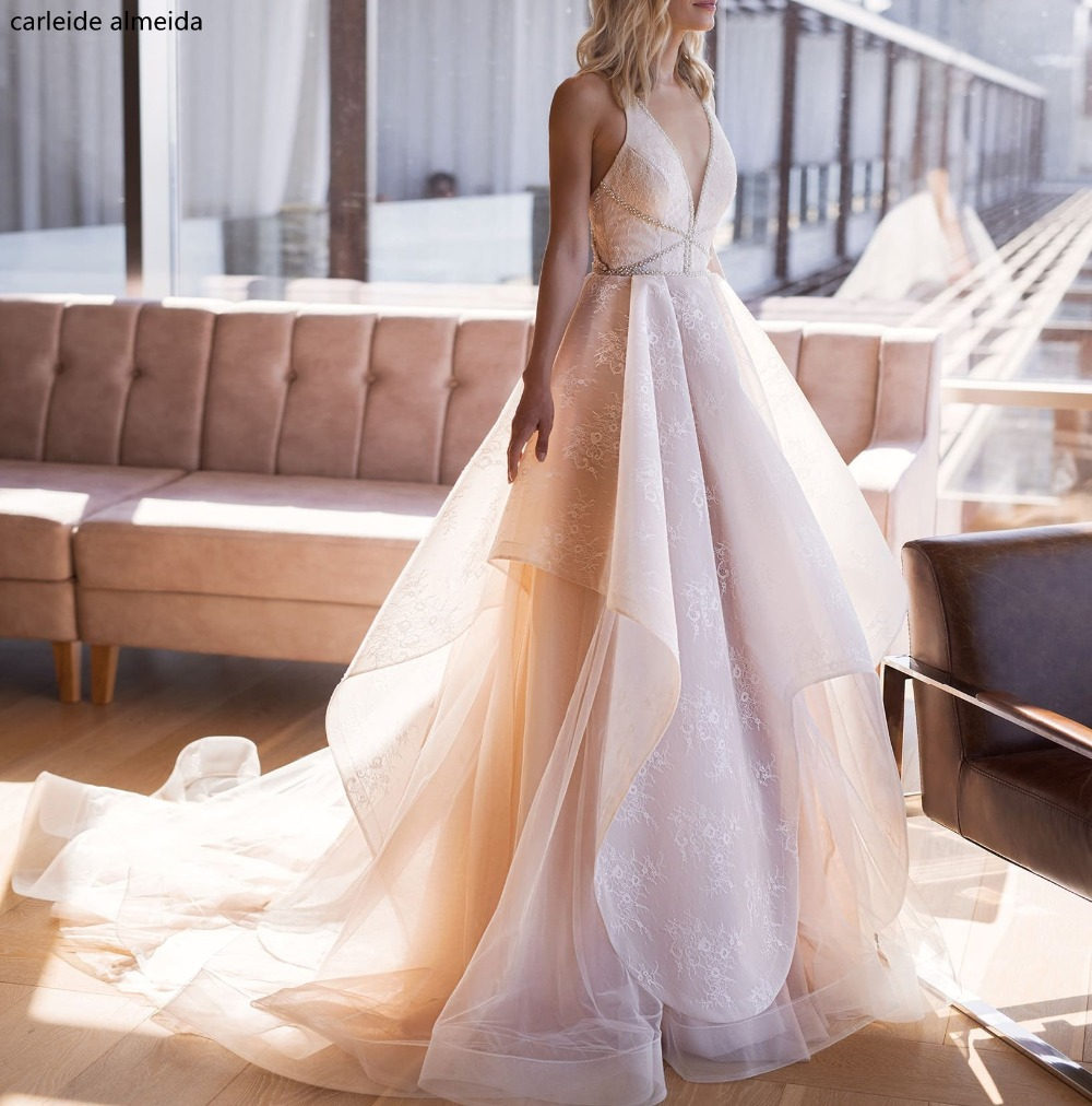 Lace Wedding Gowns With Straps: Vestido De Novia V Neck A Line Lace Wedding Dress Bead