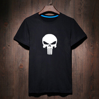 The Punisher Skull Head Letter Printed T Shirt Male Tshirt Men Tee Shirts Anime Hip Hop