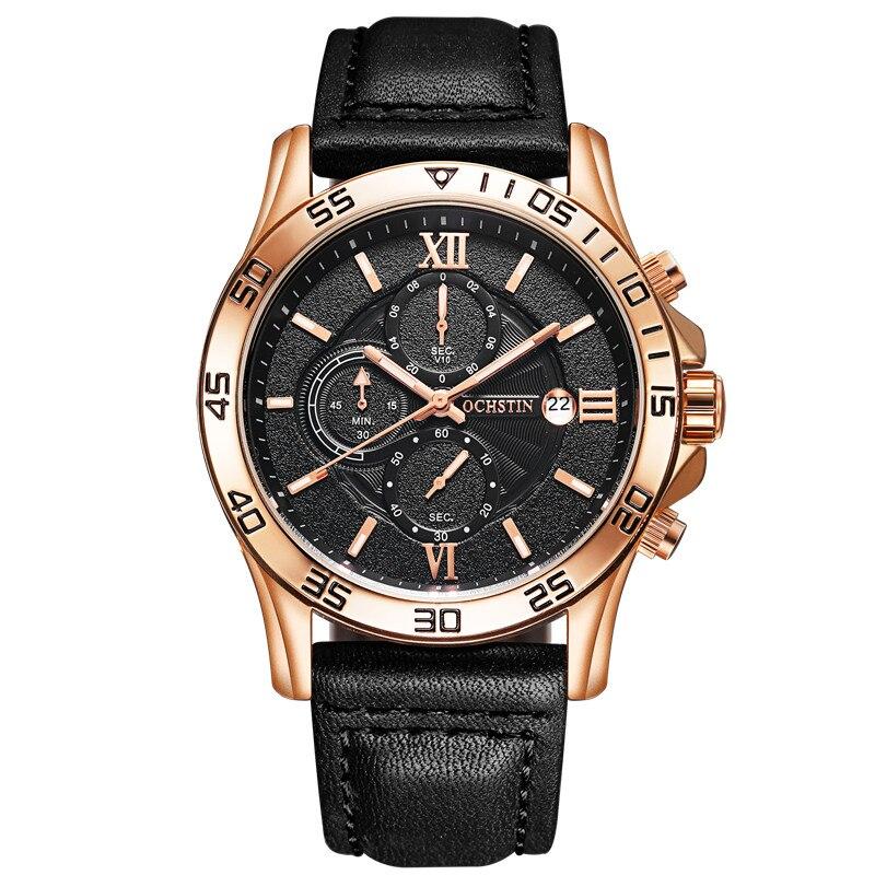 Prix pour Haut De Luxe Marque OCHSTIN Hommes Sport Montres Hommes de Quartz Date Horloge Homme En Cuir Armée Militaire Montre-Bracelet Relogio Masculino