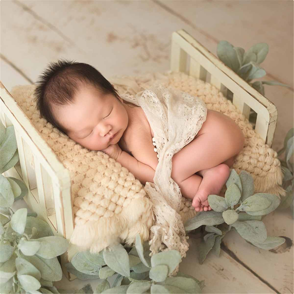 Nouveau-né accessoires pour la photographie bois amovible lit bébé photographie arrière-plan accessoires Flokati nouveau-né Studio accessoires pour tournage