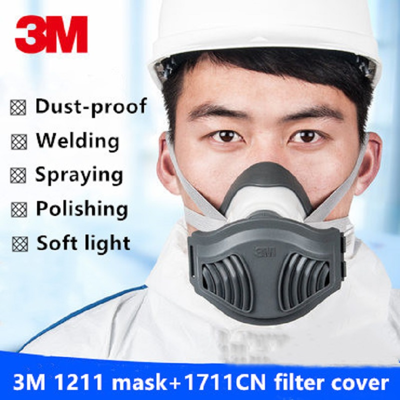 3M 1211 Dust Mask Respirator Welding Polishing Anti Industrial Dust Construction Pollen Haze Gas Family & Pro Site Protection