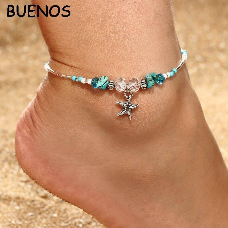 Boho Shell Beads Starfish Anklets For Women Layer Anklet Leg Bracelet Jewelry