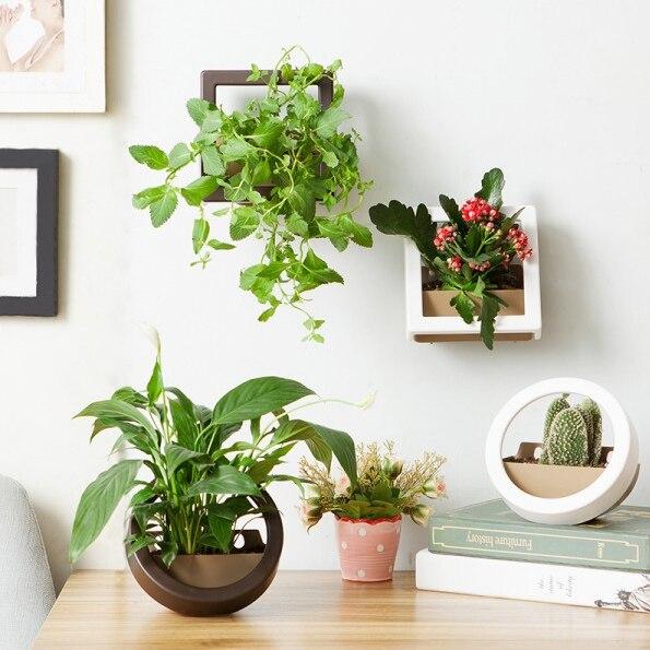 2 Pcs/Lot Wall Hanging Plant Pot Set Plastic Wall & Desktop Planter Basket Indoor Garden Flower Pots, Round and Square