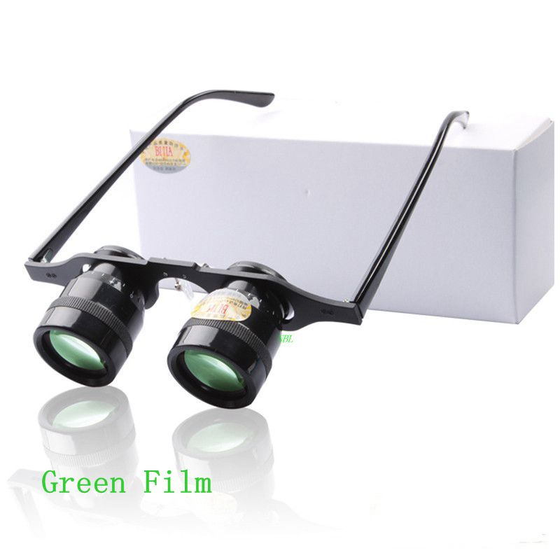 10X Magnifying Loupe Ultra-clear Binocular Opera Fishing Glasses With Green Film 10*34 Football Binoculars Magnifier With Box