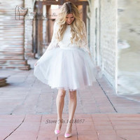 Vintage Short Wedding Dress Vestido de Noiva Curto Long Sleeve Lace Bride Dresses Cheap White Wedding Gowns 2017 Robe Mariage